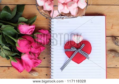 Roses And Heart With Notebook For Valentines Day.
