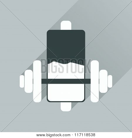 Flat web icon with long shadow battery charge