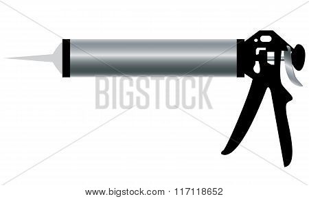 Aluminum Caulking Gun isolated on white background.