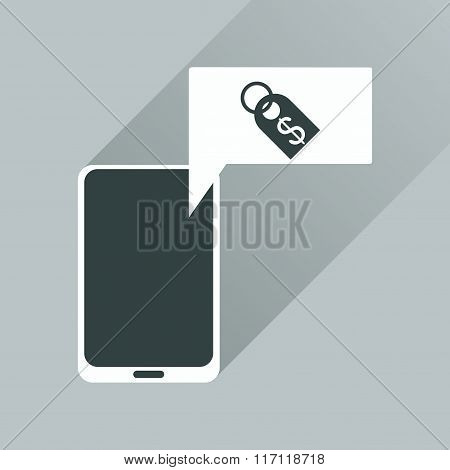Flat web icon with long shadow mobile money