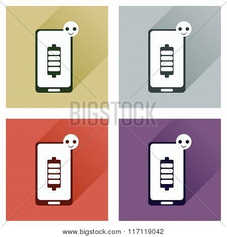 Concept of flat icons with long shadow mobile phone
