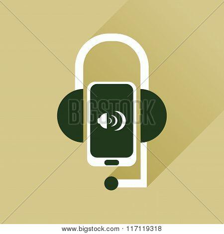 Flat web icon with long shadow mobile earphone