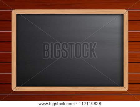 Chalkboard background template on wooden pattern texture