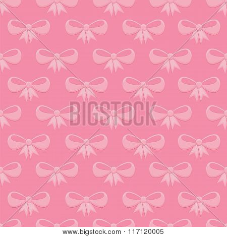Seamless Pattern With Pink Bows
