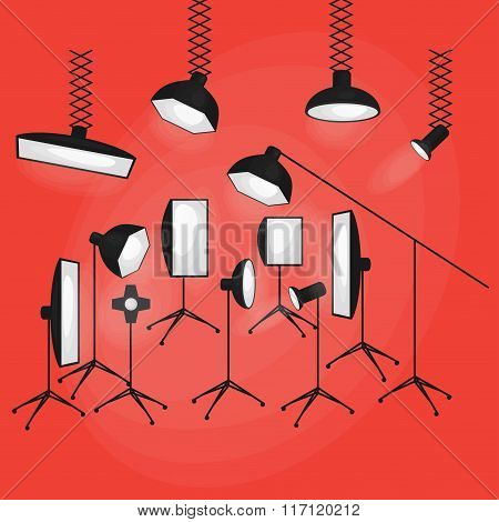 Set Of Photo Studio Equipment Flat Icons