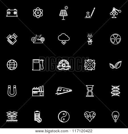 Renewable Energy Line Icons On Black Background
