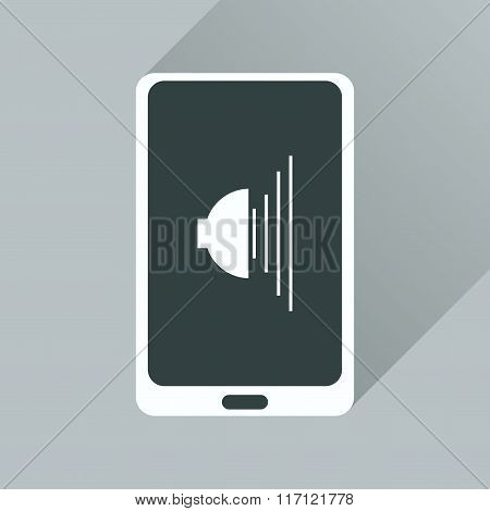 Flat icon with long shadow volume of mobile phone