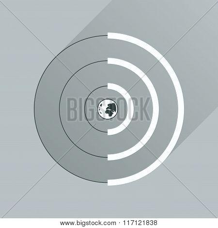 Flat icon with long shadow Globe internet