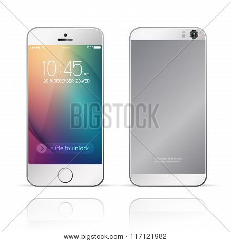 Perfectly detailed smartphone with camera,mobile phone isolated with abstract colorful background
