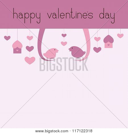 Happy Valentine's Day Greeting Card With Birds
