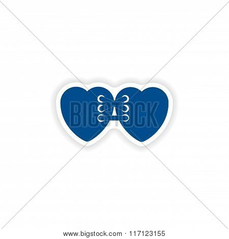 paper sticker on white background related heart