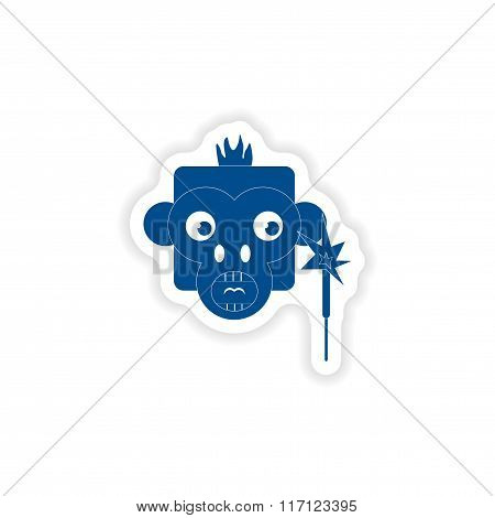 paper sticker on white background monkey sparkler