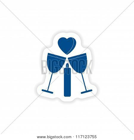 paper sticker on white background glasses wine candle