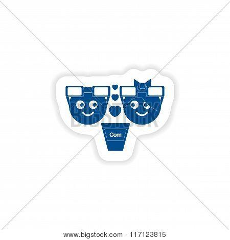paper sticker on white background man woman popcorn