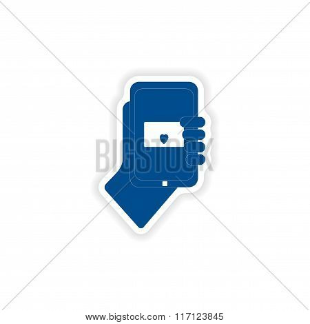 paper sticker on white background romantic sms