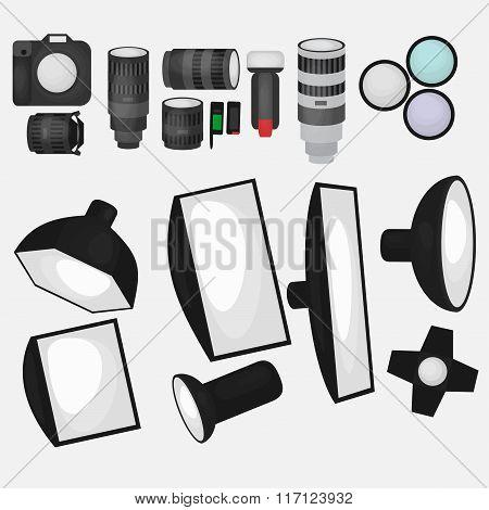 Set Of Photo Studio Equipment, Light Soft, Camera And Optic Lenses Flat Icons