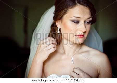 Elegant Pretty Charming Bride Wears Expensive Jewelry