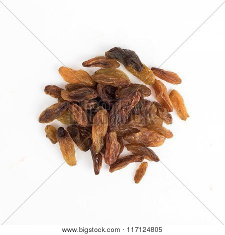 Dried Long Raisins On A White Background