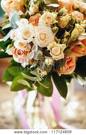 Wedding Bouquet With White And Cream Little Roses