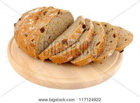 Cob Bread Loaf On Wood Bread Board