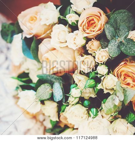 Luxuriant Wedding Bouquet With Cream Roses