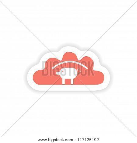paper sticker on white background dumpling with pork