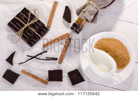 Ingredients For A Chocolate Dessert, Top View.