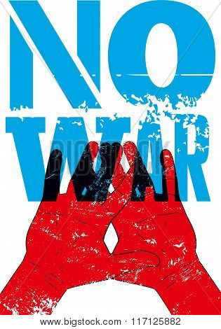 No war. Typographic retro grunge peace poster. Vector illustration.