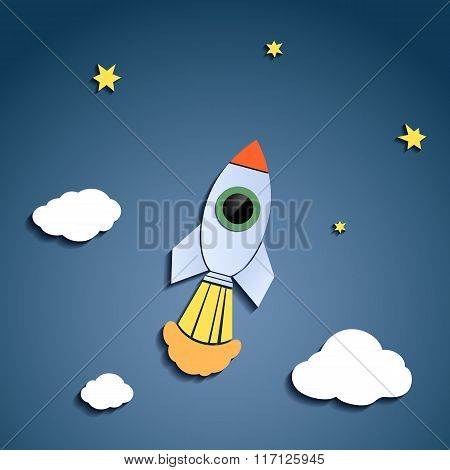 Rocket Flies Against The Sky