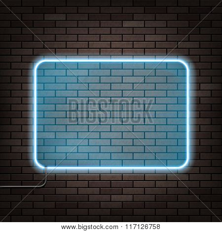 Neon Frame On The Brick Wall.
