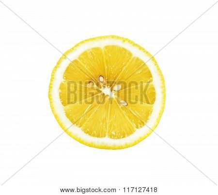 Half Sliced Lemon Isolated On The White Background