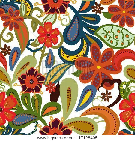 Seamless Paisley Background.colorful Flowers And Leafs On White Background.