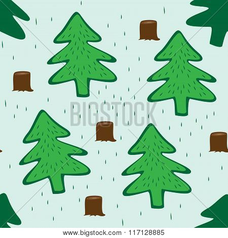 Seamless Green Background With Fir Trees
