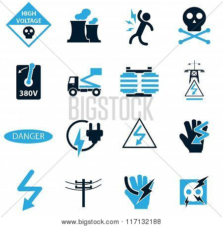 High voltage icons set