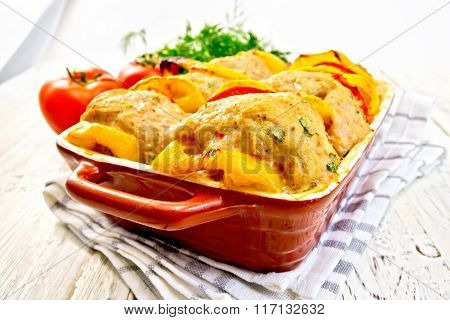 Cutlets of turkey with tomatoes in pan on board