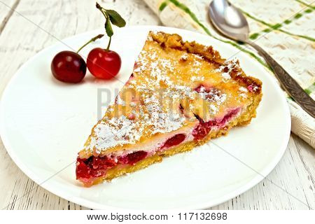 Pie cherry with sour cream on board