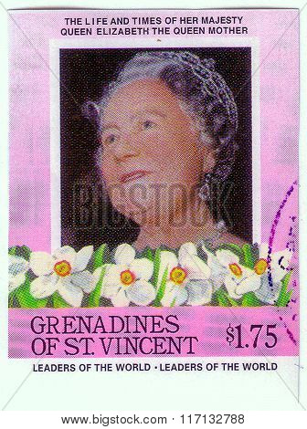 St. Vincent - Circa 1985: A Stamp Printed In Grenadines Of St. Vincent Shows Leaders Of The World, L