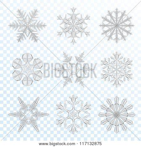 Snowflakes grey set