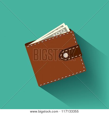 Leather Wallet With Banknotes