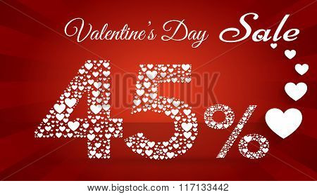 Valentine`s Day Sale, 45  Percent Discount Made Of Little Hearts. Vector