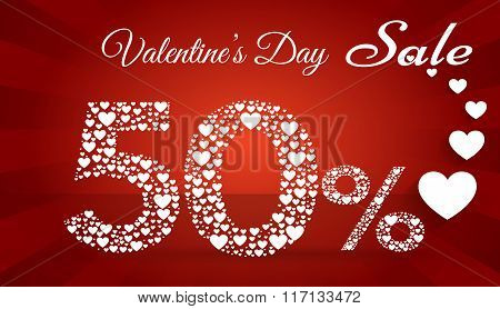 Valentine`s Day Sale, 50  Percent Discount Made Of Little Hearts. Vector