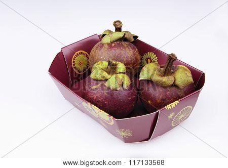 Three Ripen Mangosteens