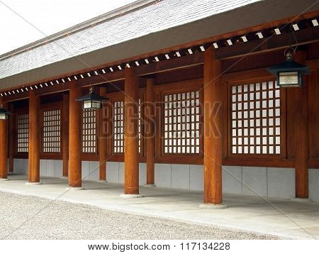 Wooden colonnade Shinto a temple