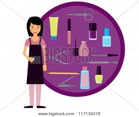 Manicurist and set of tools for manicure. Vector illustration