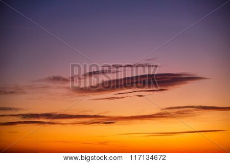 Sunset Sky Background With Tiny Clouds