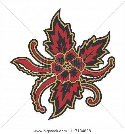 FLOWER RED BATIK INDONESIAN