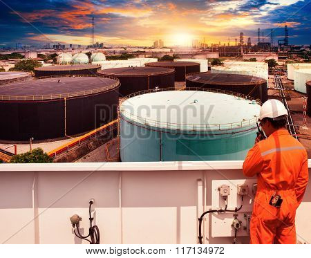 Working Man In Petrochemical Industry Plant Use For Oil ,and Fossil Power ,energy Theme