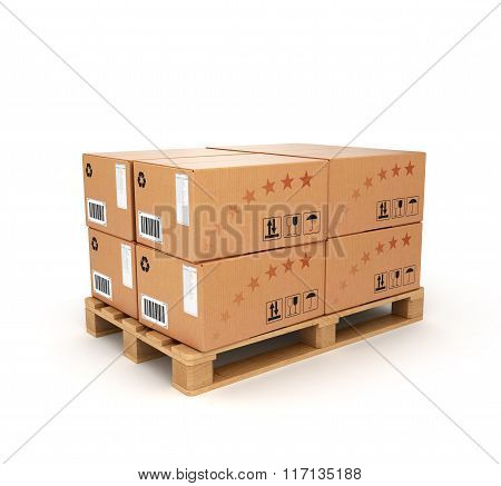 Pallet With Boxes On A White Background