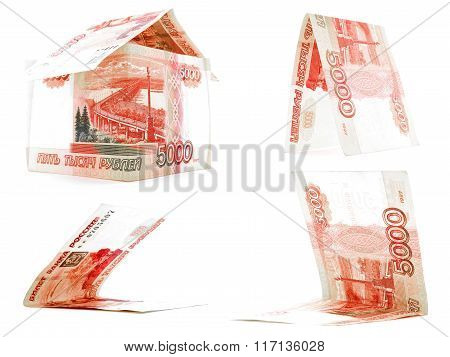 Bright 5000 Russian Ruble Set, Rouble House Isolated, White Background