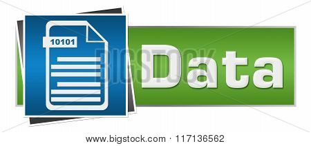 Data With File Icon Green Blue Horizontal